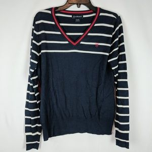 Ariat Navy Knit Sweater Women's Size XL White Red